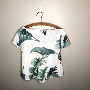 White Fox White Floral Off the Shoulder Romper